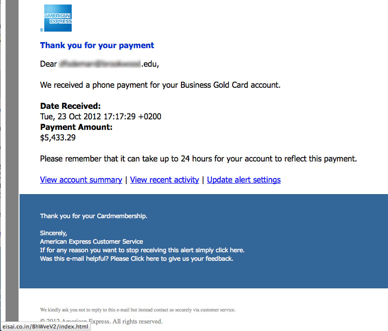 The Daily Scam   American Express Thanks For Payment