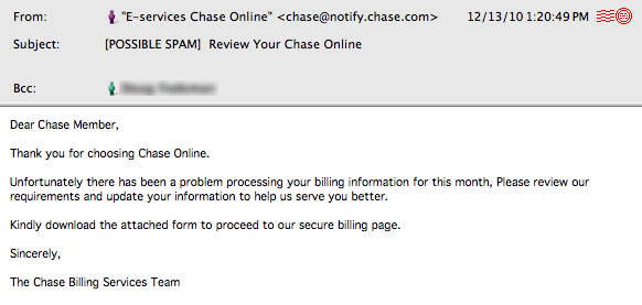 The Daily Scam | Chase Bank – Sample set #1