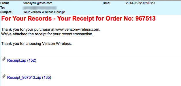 Verizon Wireless-Receipt Attached