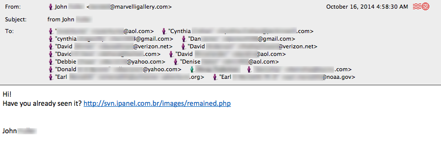 Hacked email account w malicious link