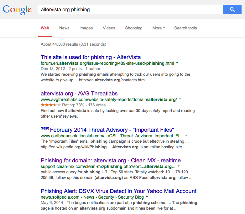Phish anatomy Google search altervista 9