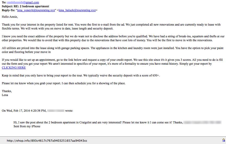 Craigslist apt scam update
