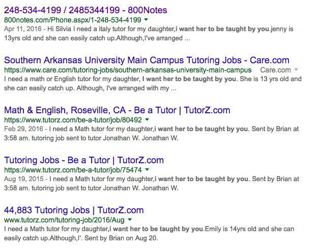 Google search for tutor scam emails