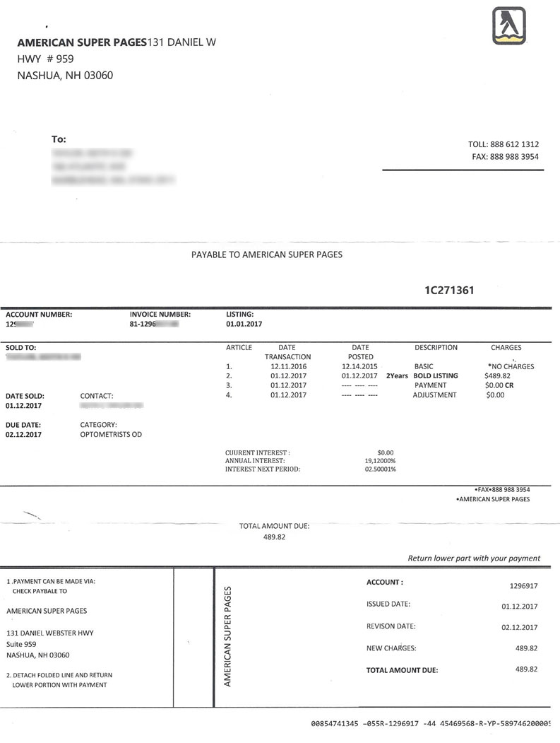 the daily scam fake bills and invoices