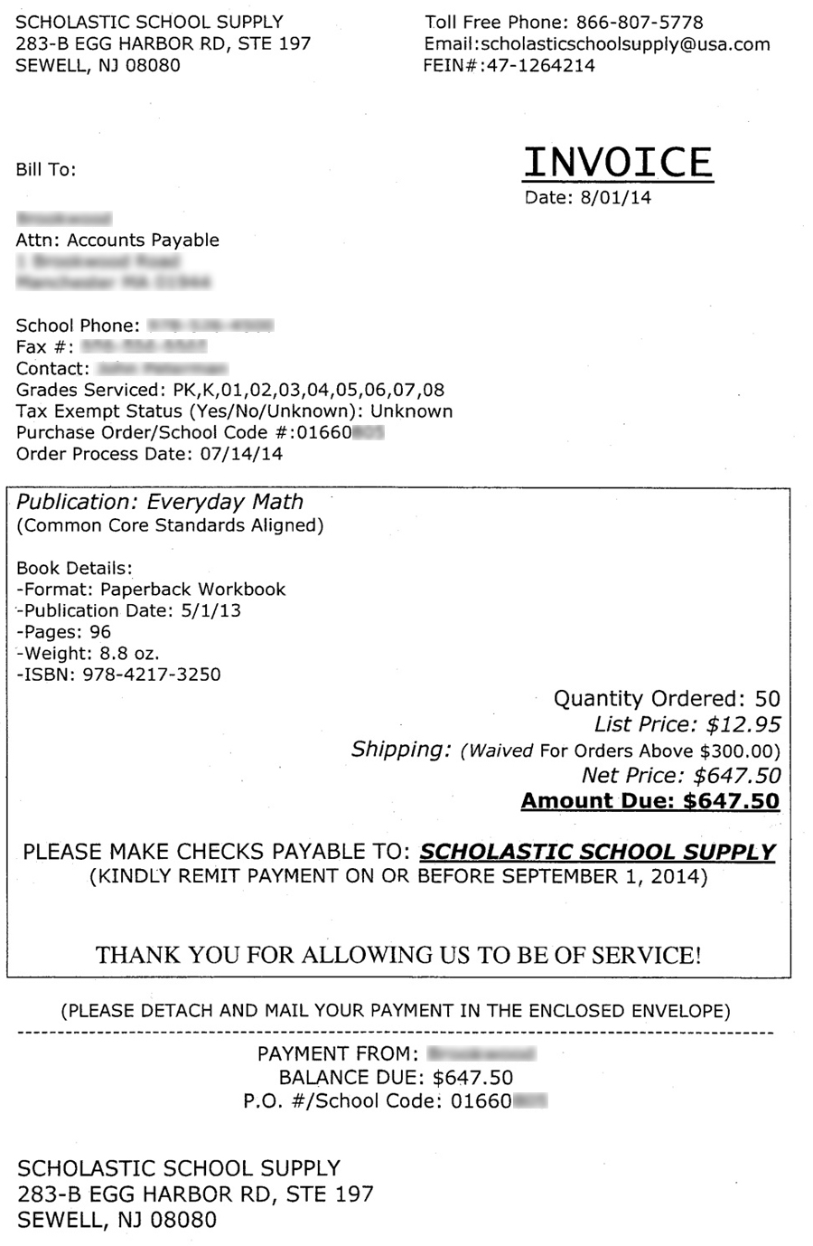 Receipts Printer Excel The Daily Scam  Fake Bills And Invoices Third Party Invoicing Word with Lic Premium Receipt Statement Word Did You Notice The Email Address Listed In The Scholastic School Supply  Invoice It Is Scholasticschoolsupply Usacom Usacom Is A Legitimate  Business And  Invoicing Templates Excel