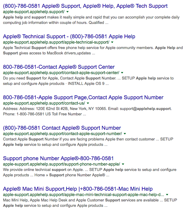 apple support number