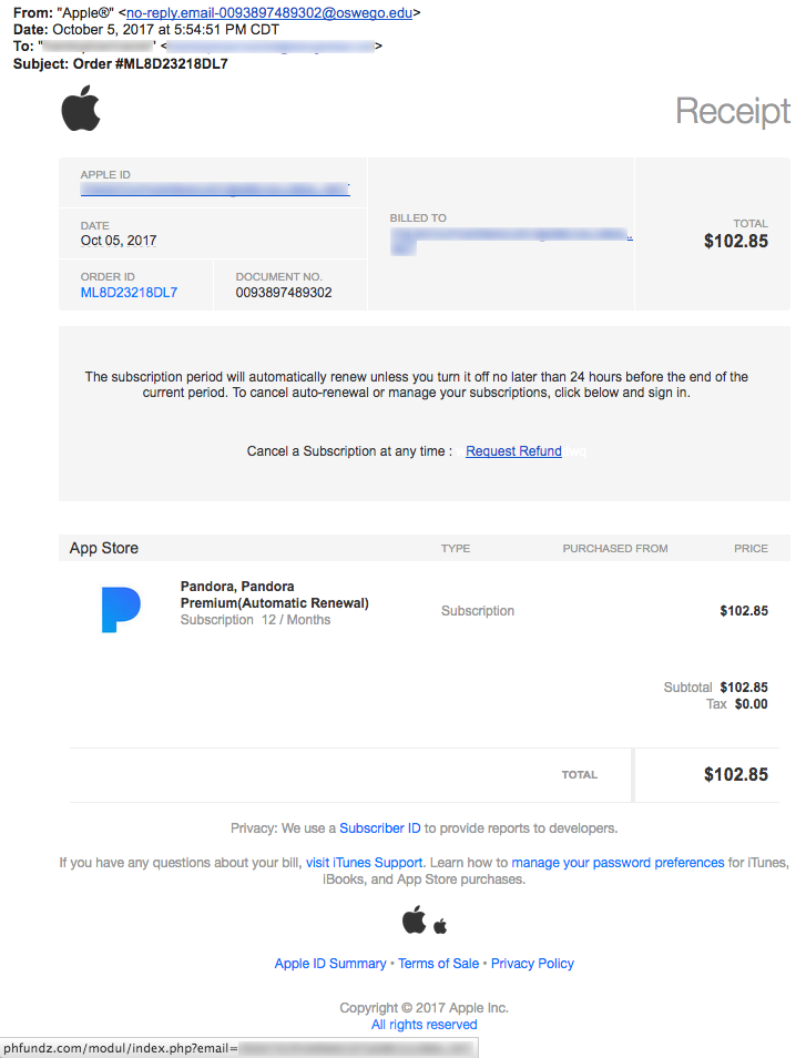 itunes subscription email